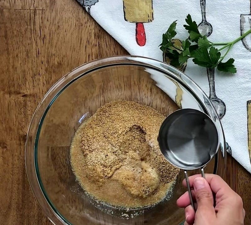 Add hot water in flax mix