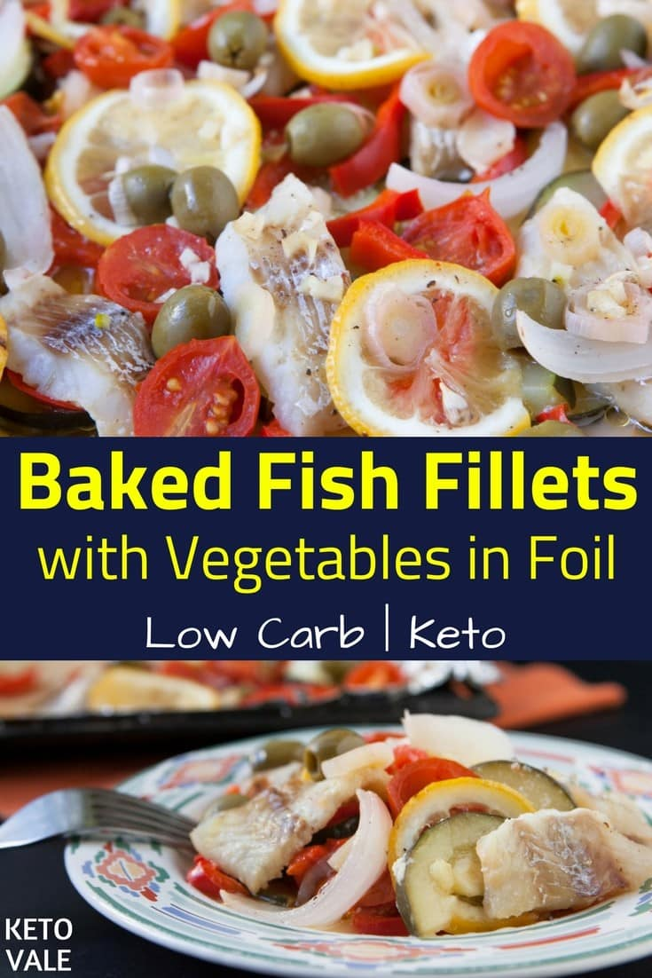 Keto Baked Fish Fillets with Vegetables Low Carb Healthy Recipe
