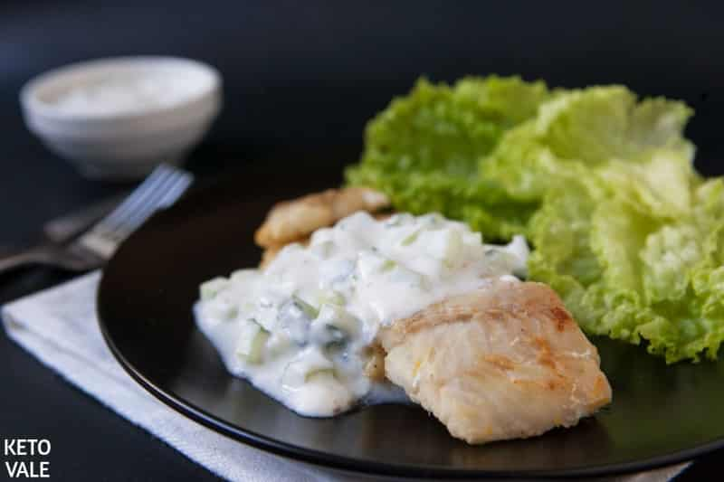 Low Carb Fried Cod with Raita