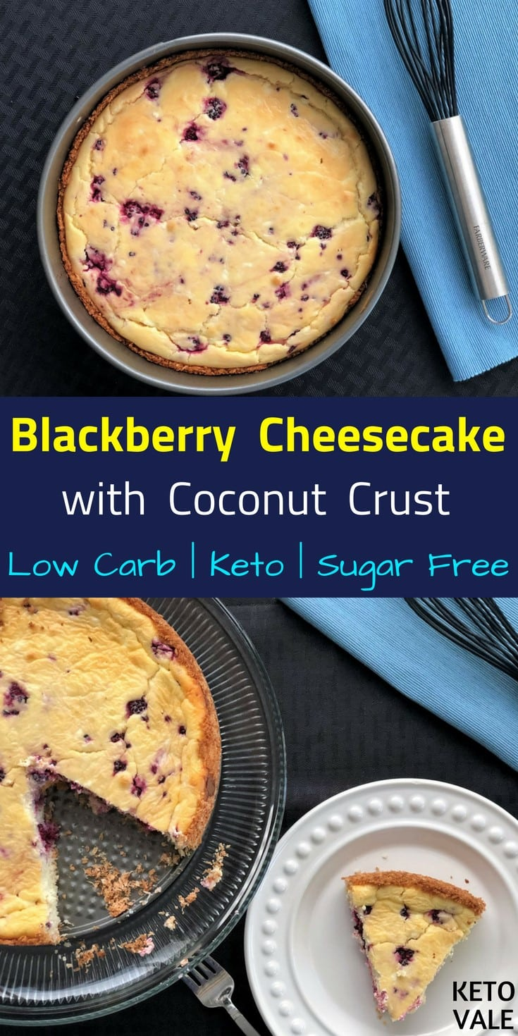 Low Carb Sugar Free Blackberry Cheesecake with Coconut Crust for Keto Diet