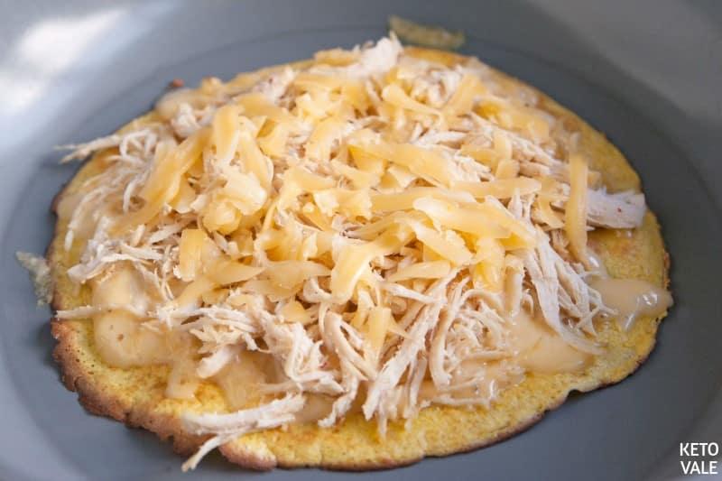 add chicken on tortillas