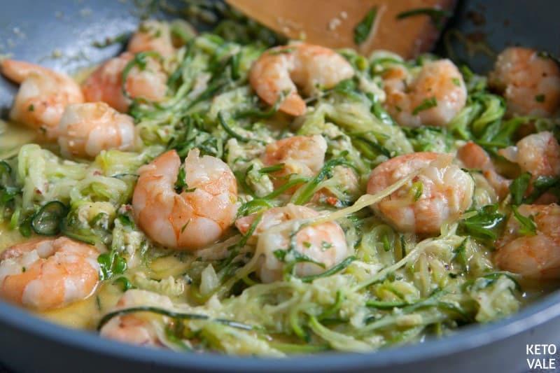 add shrimp back to zucchini