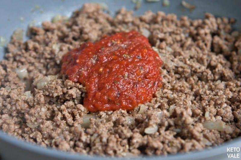 ground beef with marinara sauce