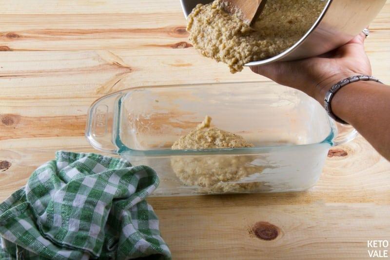 pour peanut batter in pan