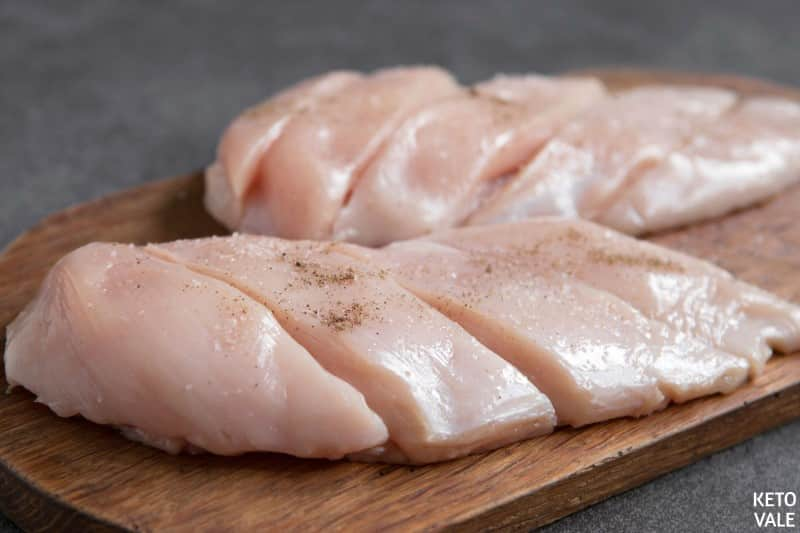 cut chicken breast into finger-sized