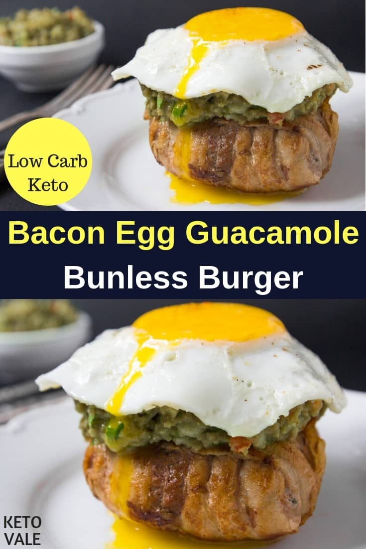 keto bacon egg guacamole burger
