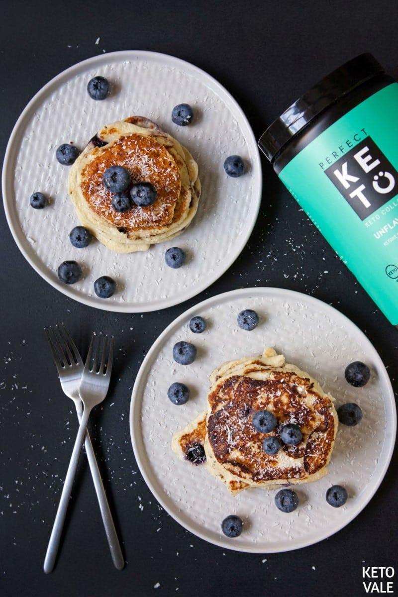 keto collagen blueberry pancakes
