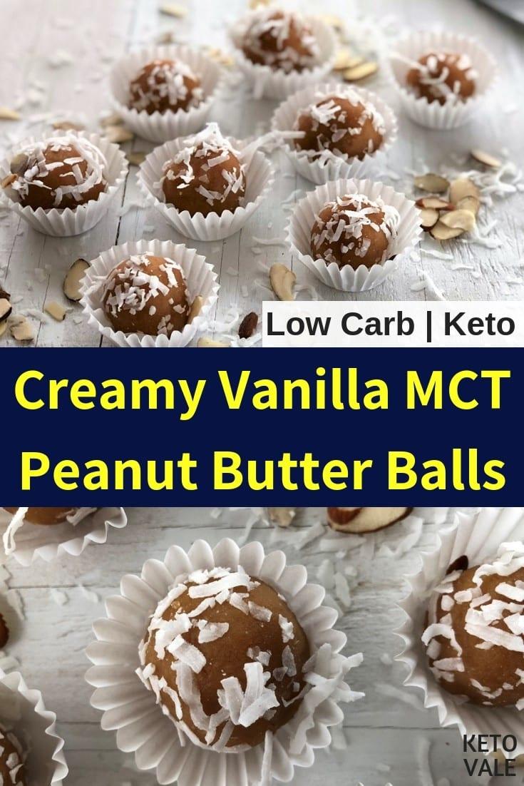 keto vanilla MCT peanut butter fat bombs