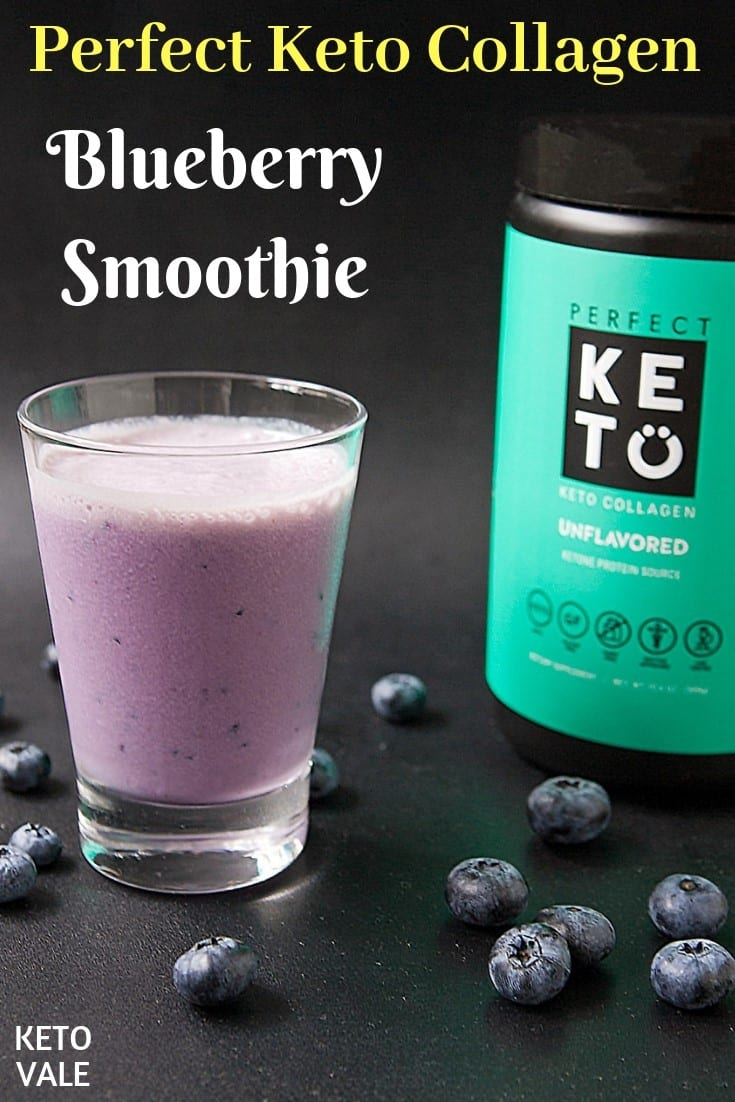 low carb blueberry collagen smoothie