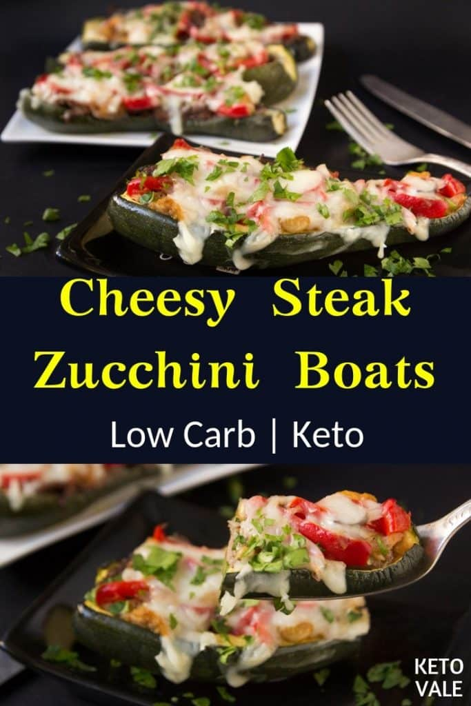 Keto Cheesy Steak Zucchini Boats Low Carb Recipe Keto Vale