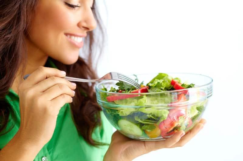 happy woman eating food