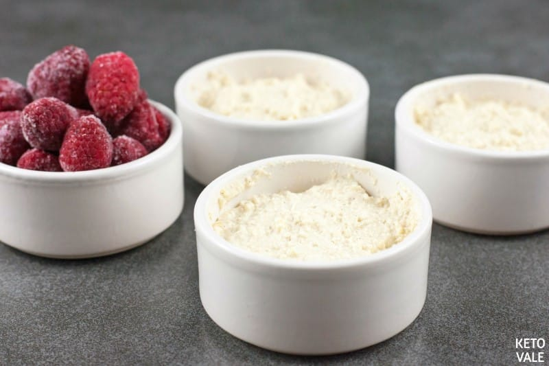 top raspberries on ricotta mixture