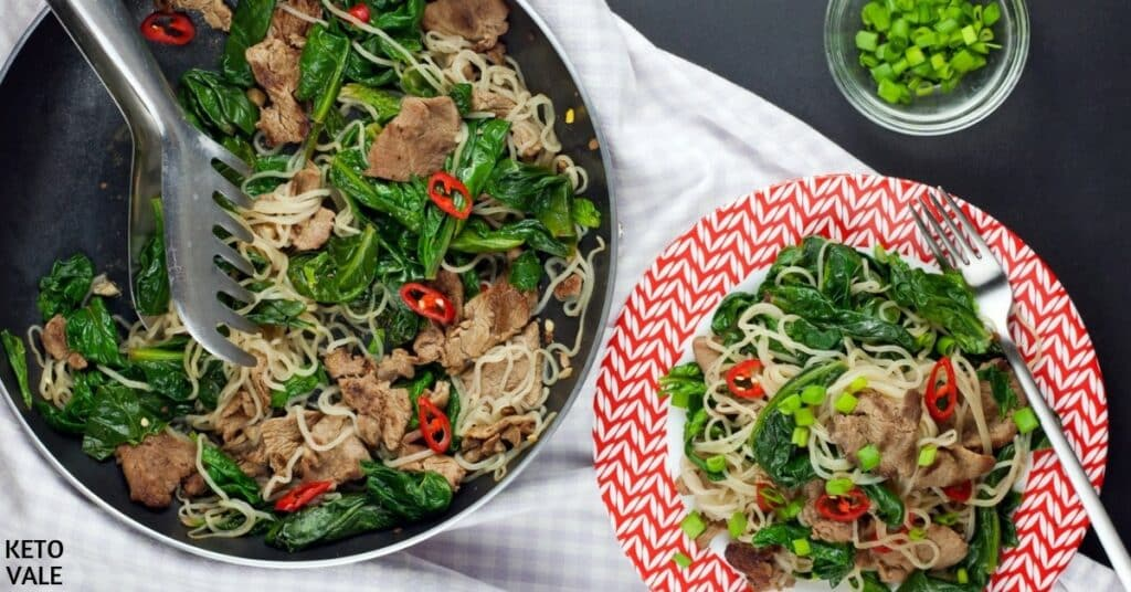 beef spinach noodles stir fry recipe