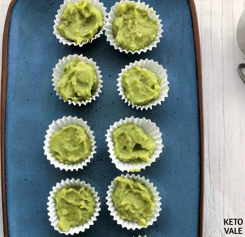 put avocado batter in molds