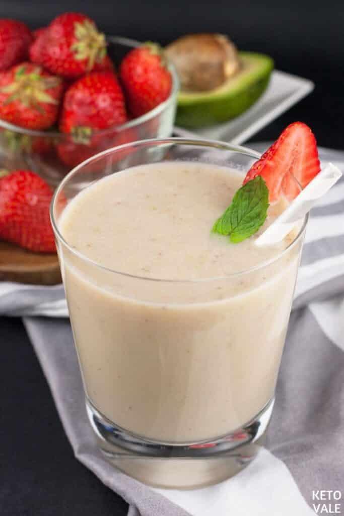 keto strawberry avocado collagen milkshake