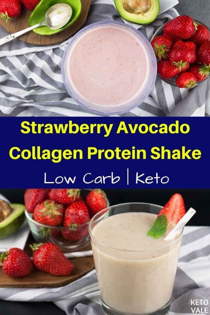 low carb strawberry avocado collagen milkshake