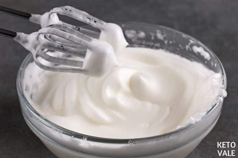 whip egg whites until foamy