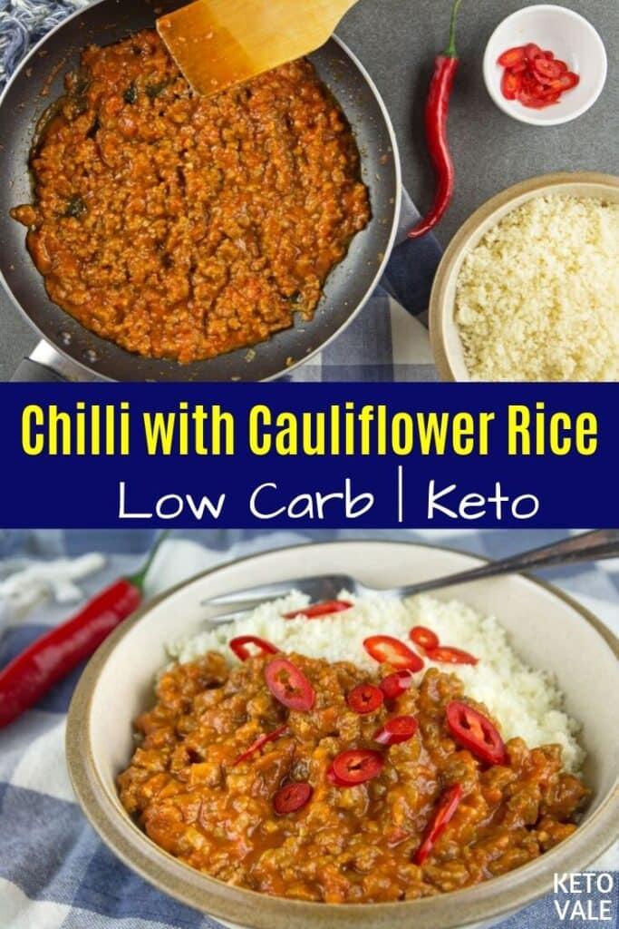 keto chili with cauliflower rice