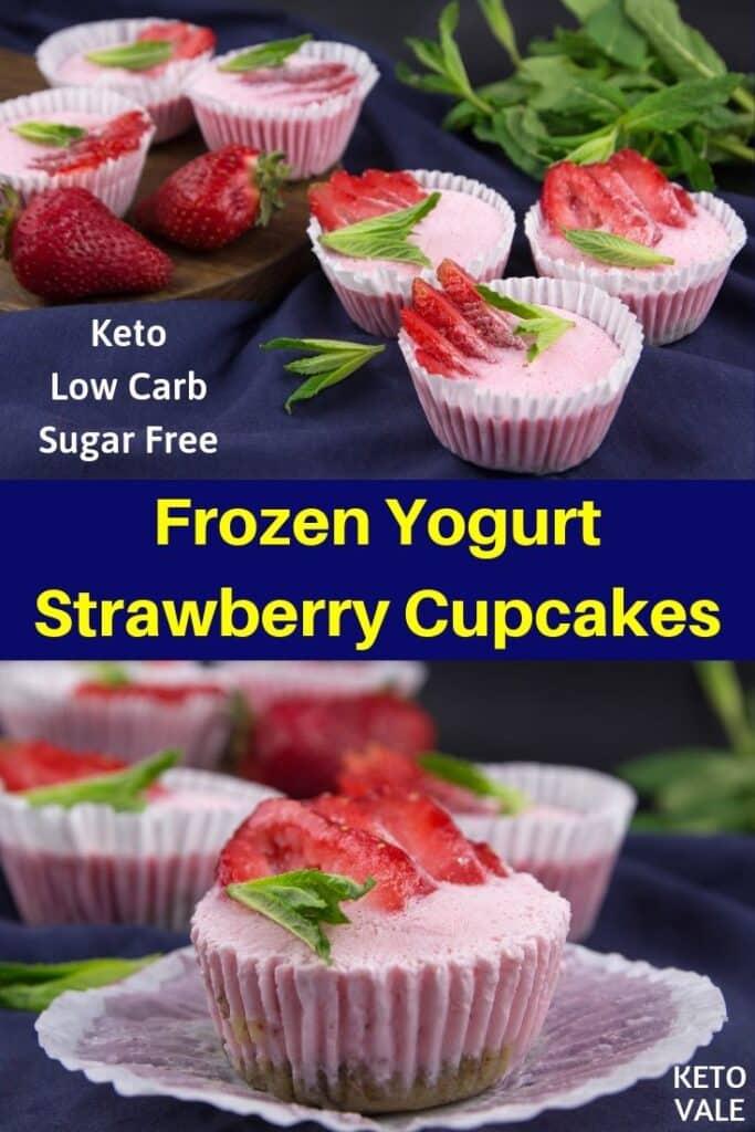 keto yogurt strawberry cupcakes