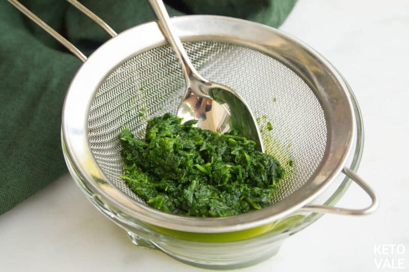 drain frozen spinach