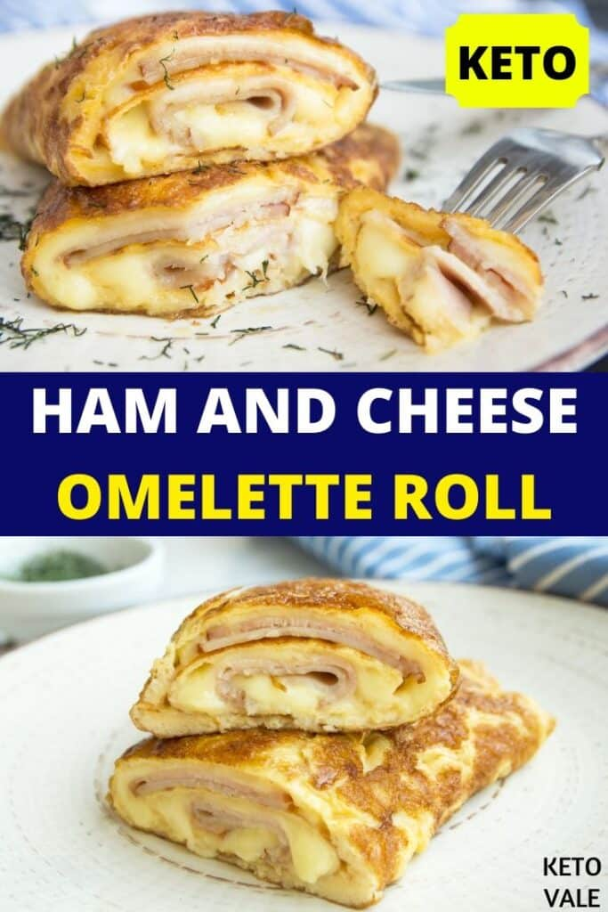 keto ham cheese omelet roll