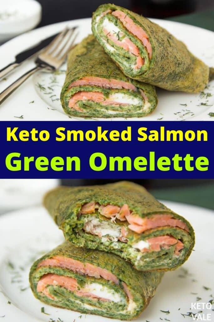 keto salmon green omelet