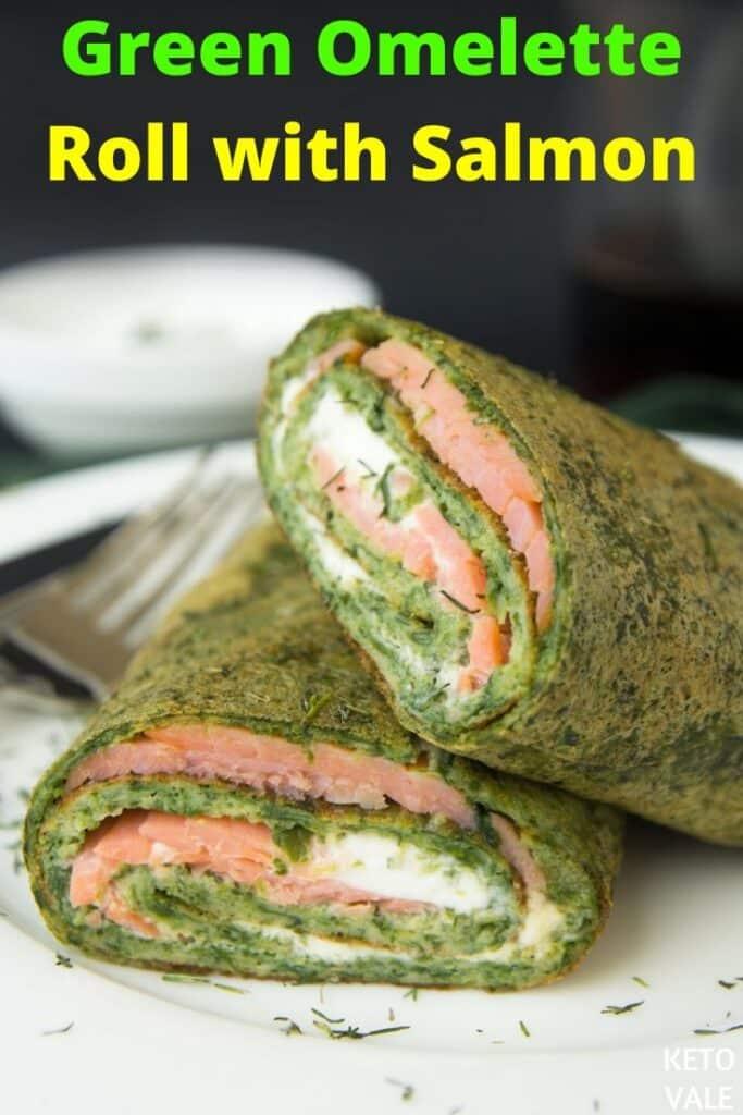 salmon green omelette rolls