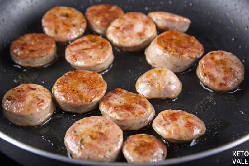 brown pork sausage slices