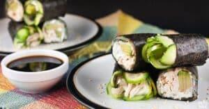 chicken avocado cucumber nori rolls