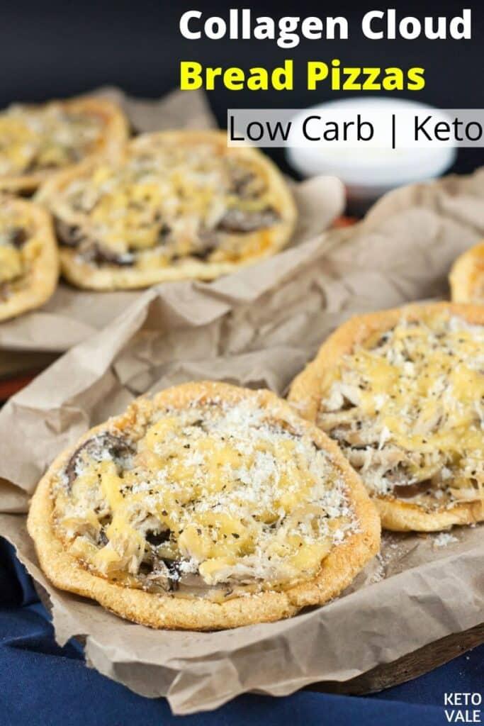 low carb collagen cloud bread pizzas