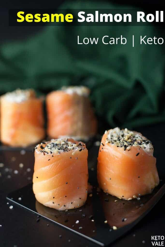 low carb sesame salmon roll