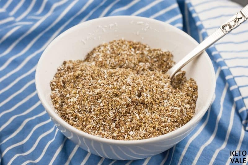 mix shredded coconut and flaxseed meal