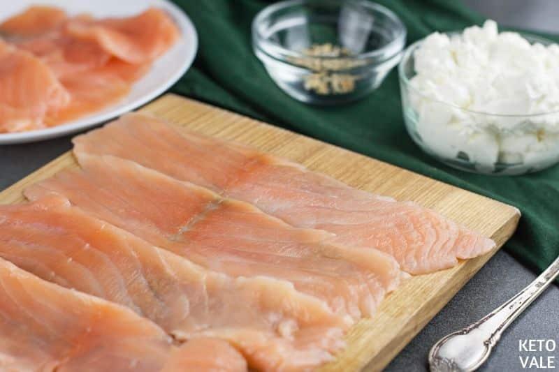 thinly slice salmon