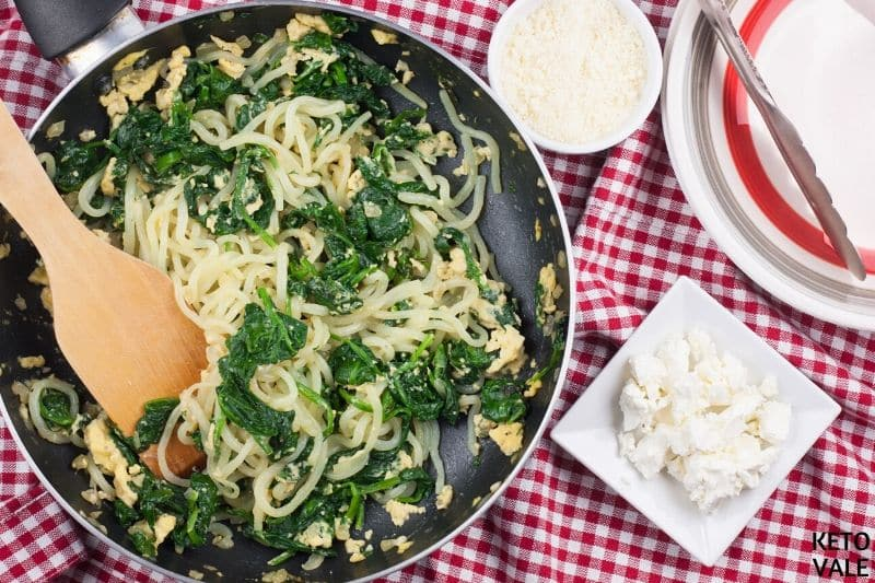 add egg serve spanakopita noodles