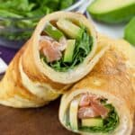 arugula avocado salmon egg rolls