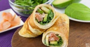 arugula avocado salmon egg rolls