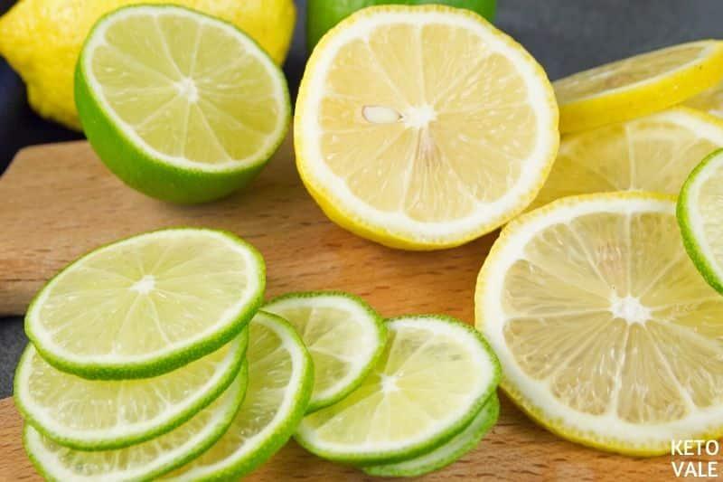 cut lime lemon slices