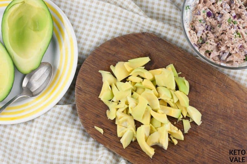 dice scooped avocado
