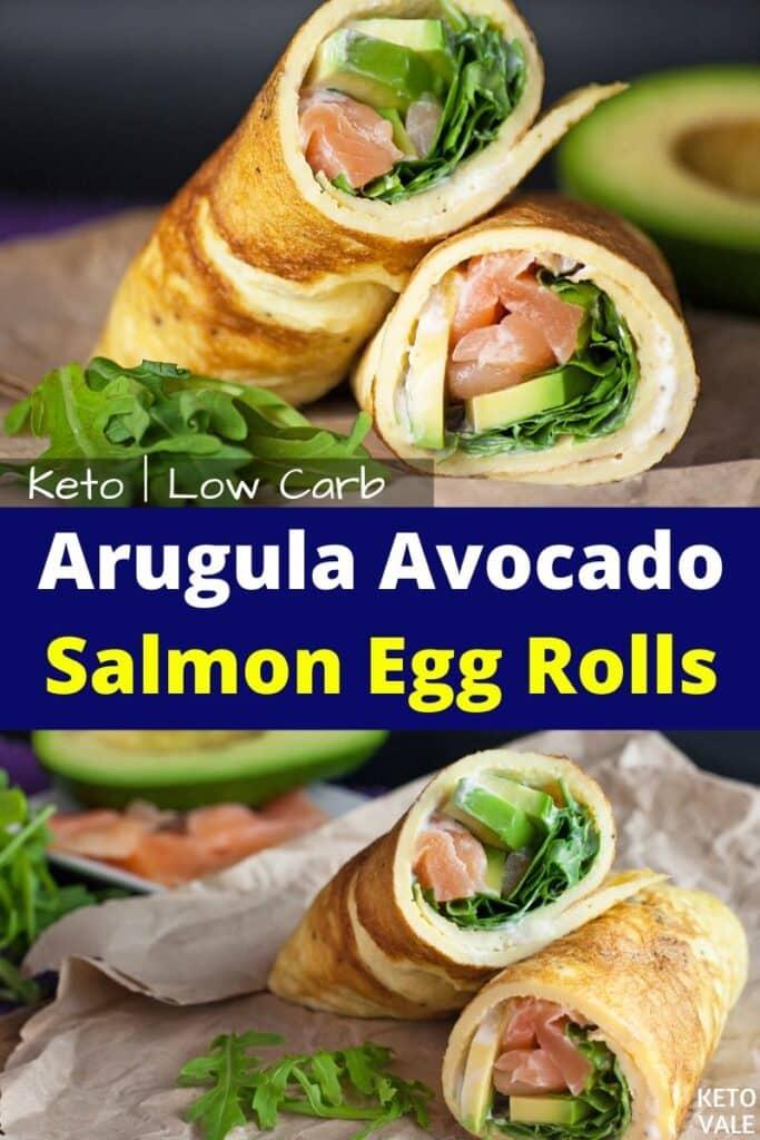 keto arugula avocado salmon egg rolls