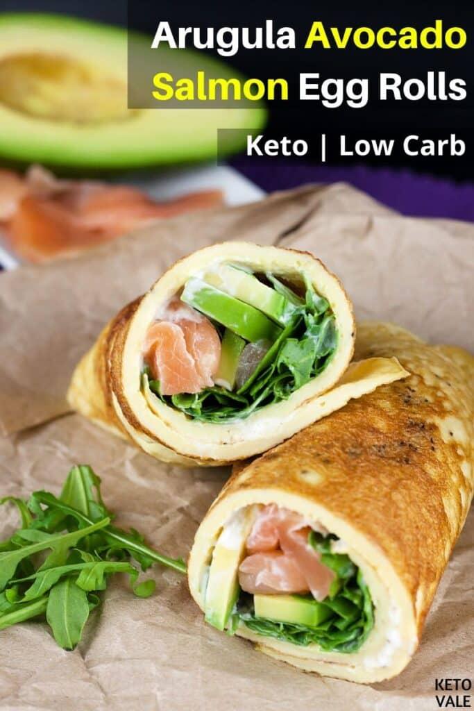 low carb arugula avocado salmon egg rolls