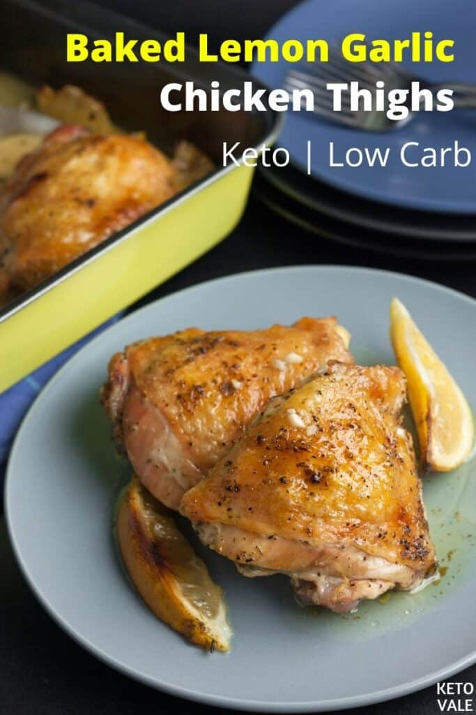 low carb baked lemon garlic chicken thighs