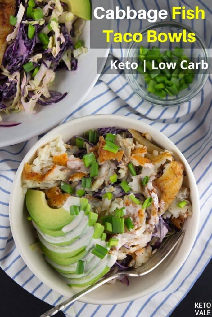 low carb cabbage fish taco bowls
