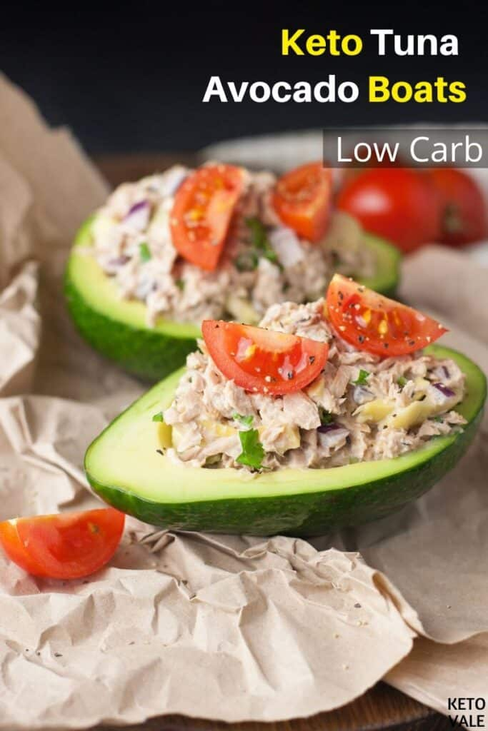 low carb tuna avocado boats