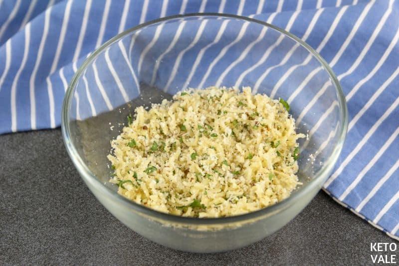 mix cheese almond flour parsley