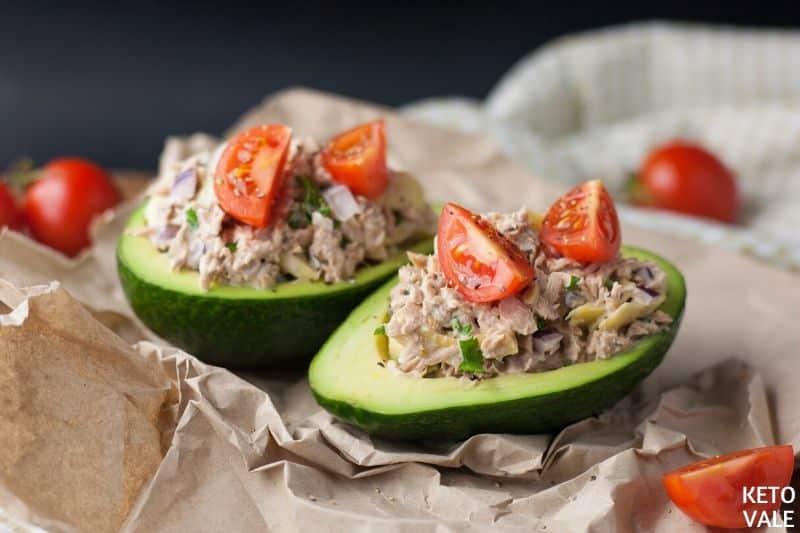 scoop mixture avocado halves