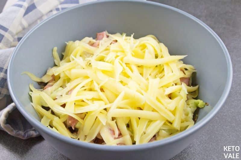 top cheese meat cabbage sauerkraut