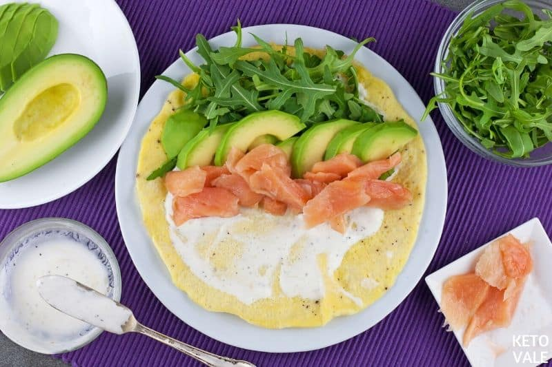 top yogurt salmon avocado arugula