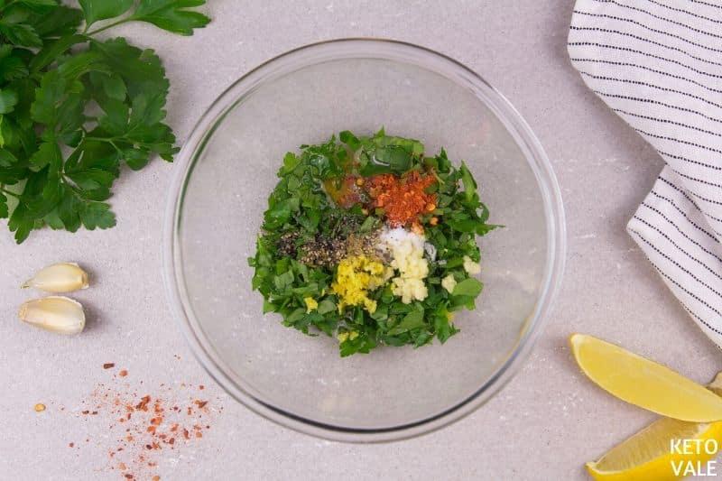 combine parsley garlic oil zest