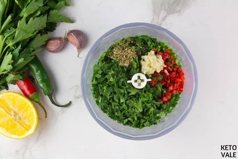 combine parsley garlic oregano chilli