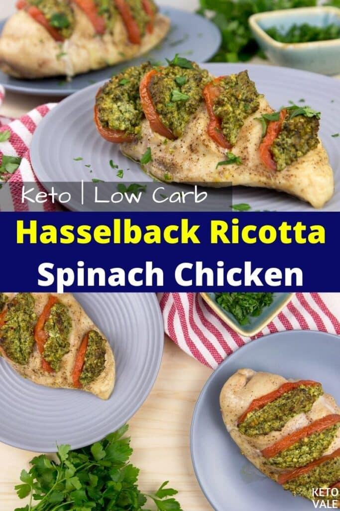 keto hasselback ricotta spinach chicken